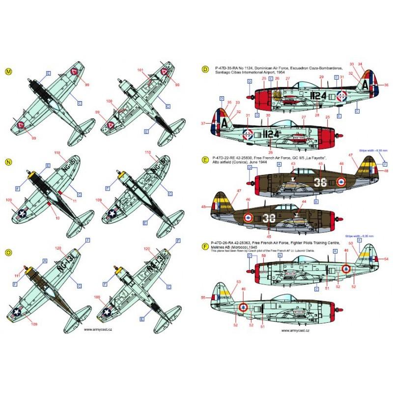 The Thunderbolts (P-47D, F-47D & F-47N Thunderbolt around the world - decal ARMYCAST Acd-7281