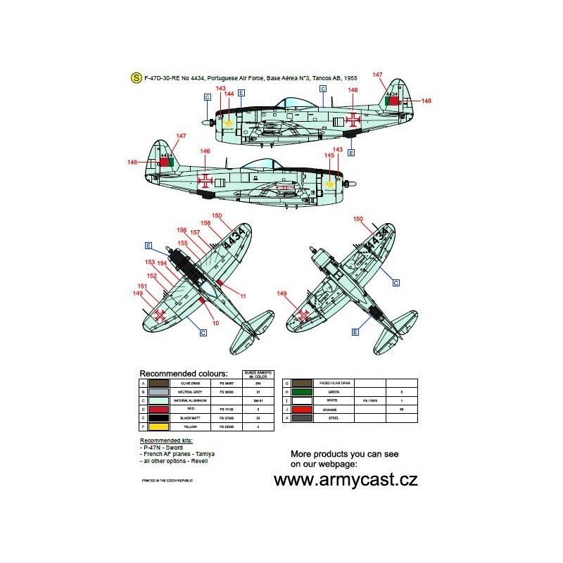 The Thunderbolts (P-47D, F-47D & F-47N Thunderbolt around the world - decal ARMYCAST Acd-7282