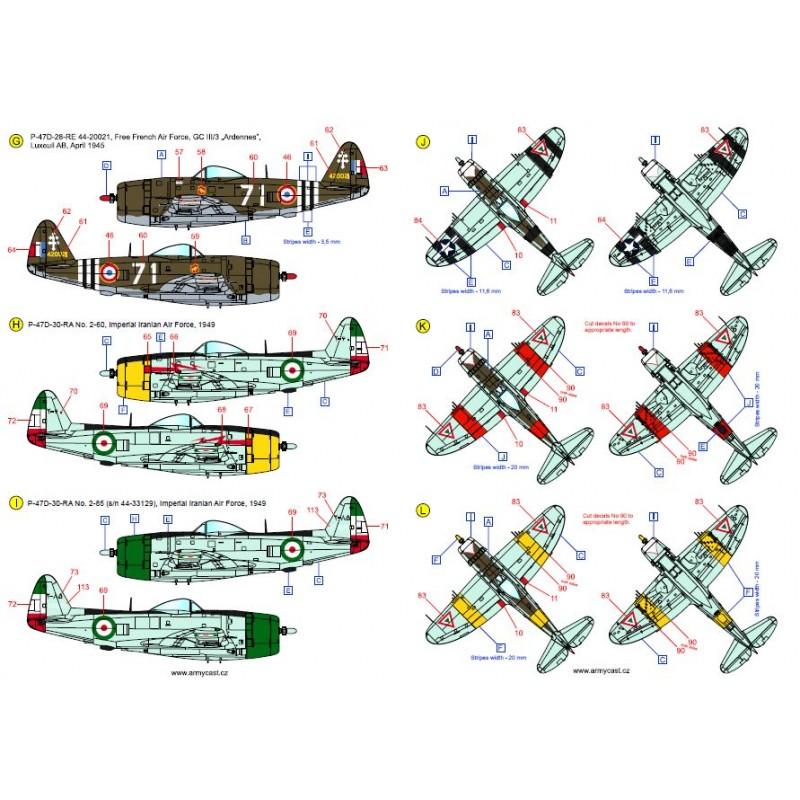 The Thunderbolts (P-47D, F-47D & F-47N Thunderbolt around the world - decal ARMYCAST Acd-7283