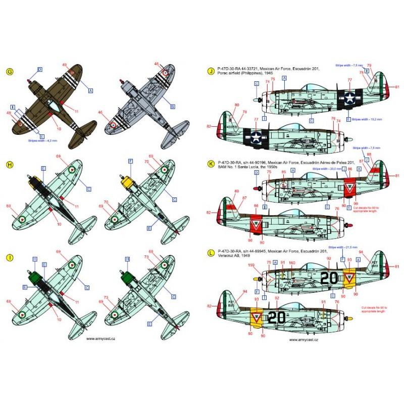 The Thunderbolts (P-47D, F-47D & F-47N Thunderbolt around the world - decal ARMYCAST Acd-7284