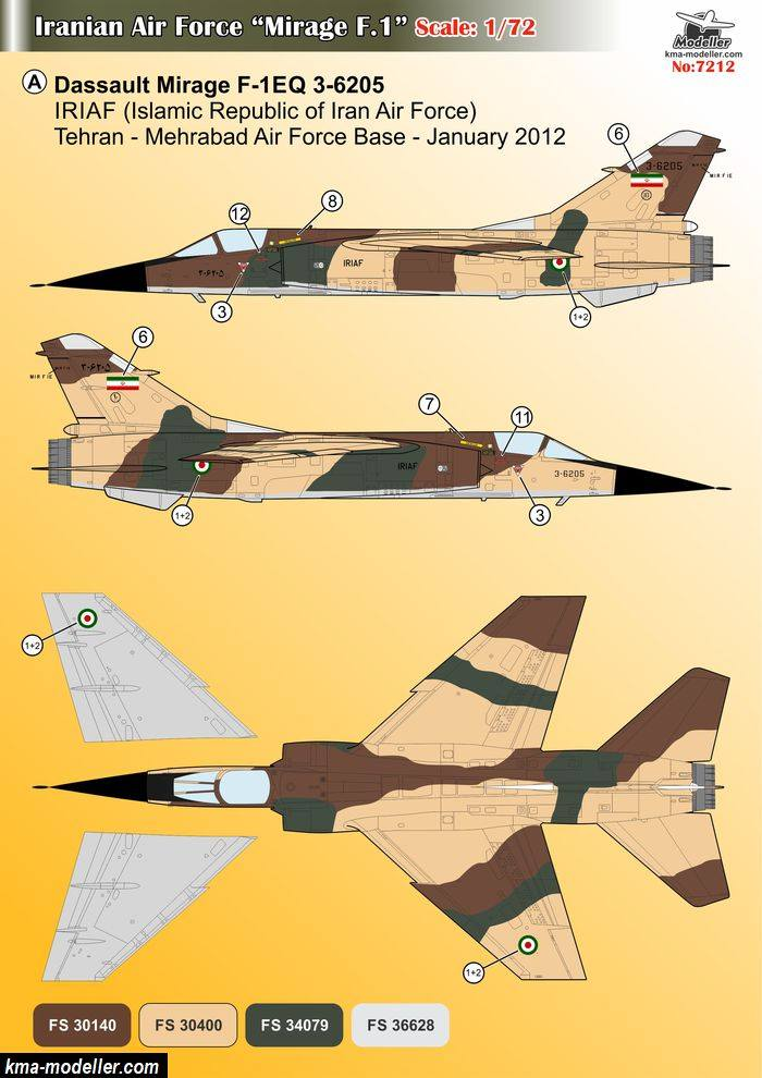 "Décals Iranian Air Force ""Mirage F1"" Kma-mo11"