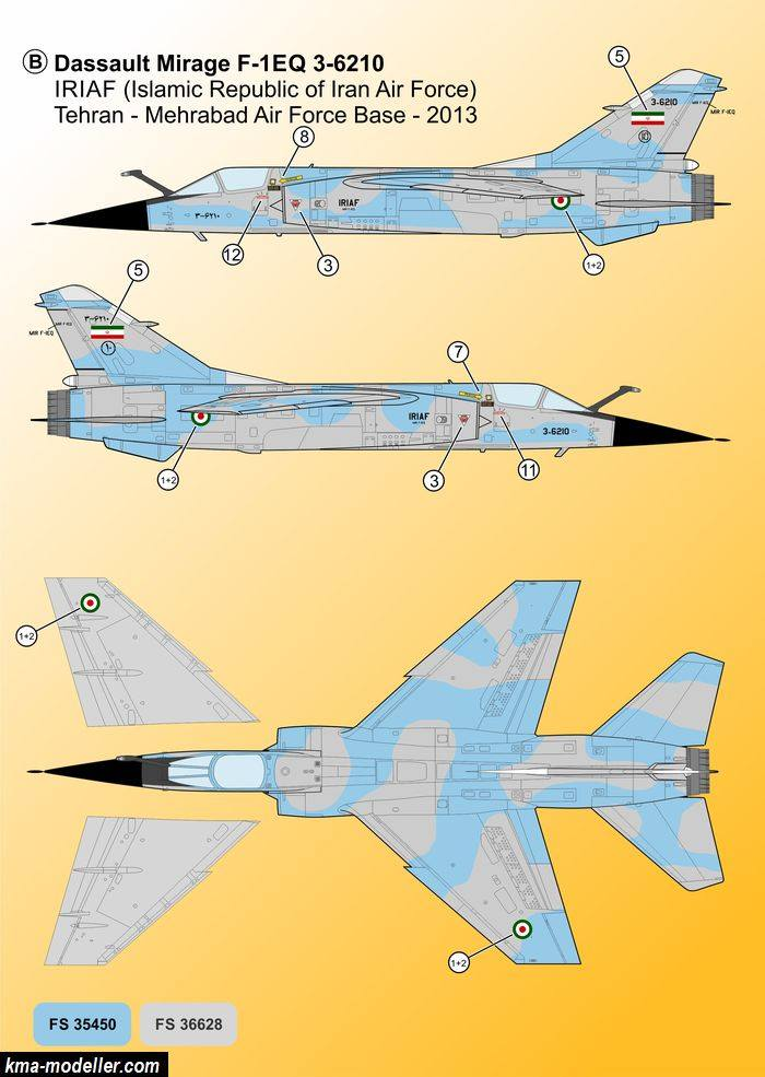 "Décals Iranian Air Force ""Mirage F1"" Kma-mo12"