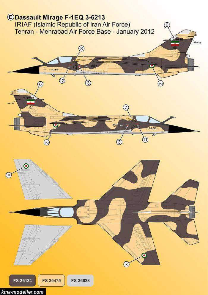 "Décals Iranian Air Force ""Mirage F1"" Kma-mo15"