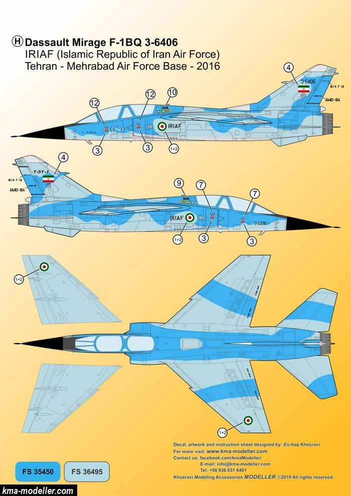 "Décals Iranian Air Force ""Mirage F1"" Kma-mo18"
