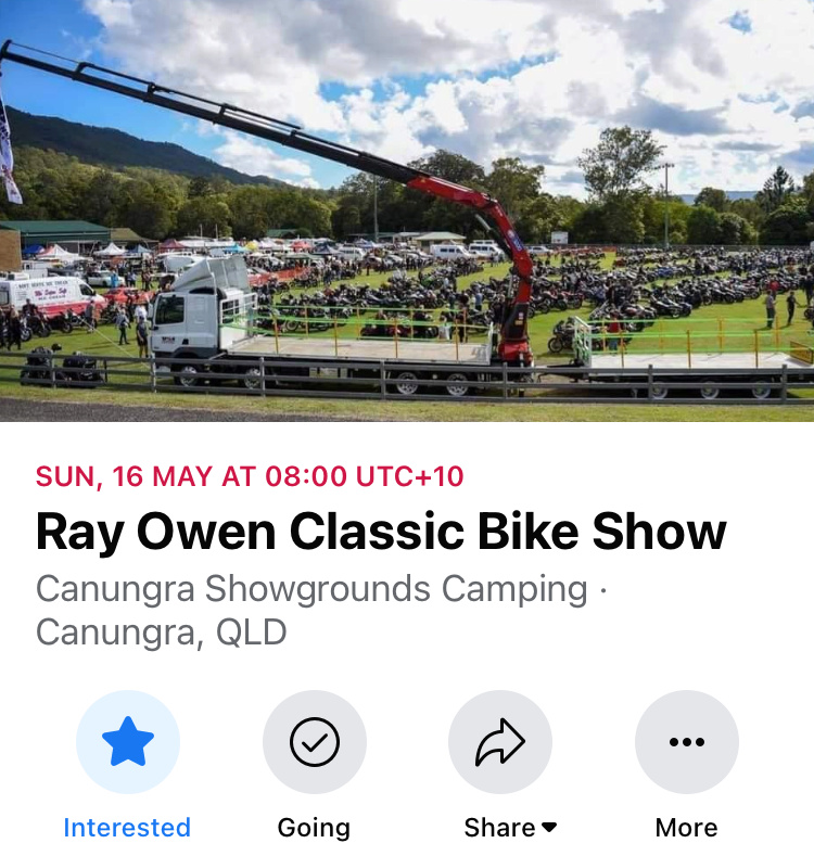 SEQ  -  Ray Owen Classic Bike Show & Swap meet  Sunday  16th May   Ray_ow10