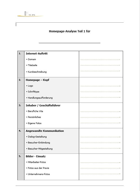 Möchten Sie Ihre Homepage auf den Inhalt analysieren lassen? Homepa10