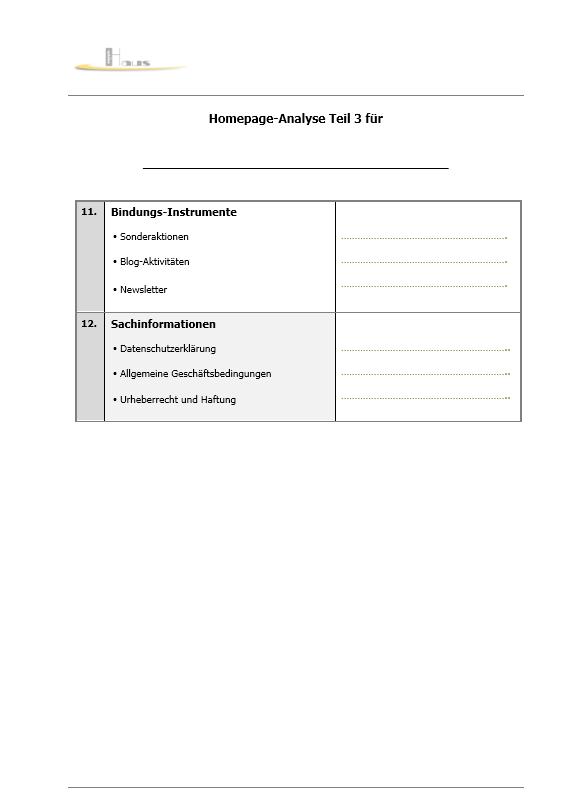 Möchten Sie Ihre Homepage auf den Inhalt analysieren lassen? Homepa12