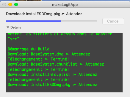 makeLegitApp  ( Créer votre Install macOS Mojave.app ) 120