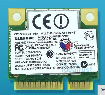 AR5BHB92 AR9280 Double-Bande 2.4G/5 GHz 802.11a/b/g/n 300 Mbps WiFi  144