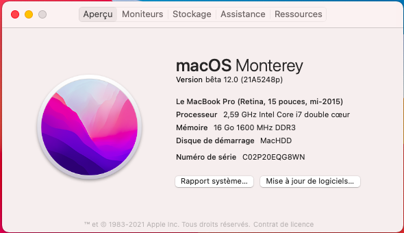 macOS Monterey 12.0 / 12.1 / 12.2 / 12.3 / 12.4 Beta Capt1004