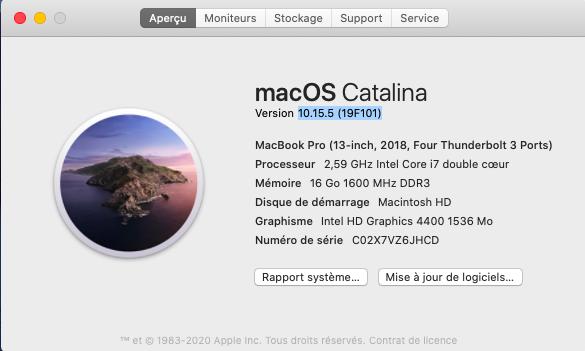 Mise a jour de supplémentaire macOS Catalian 10.15.5 (19F101) Captu627