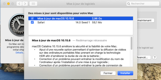 Mise a jour macOS Catalina 10.15.6 (19G73) Captu693