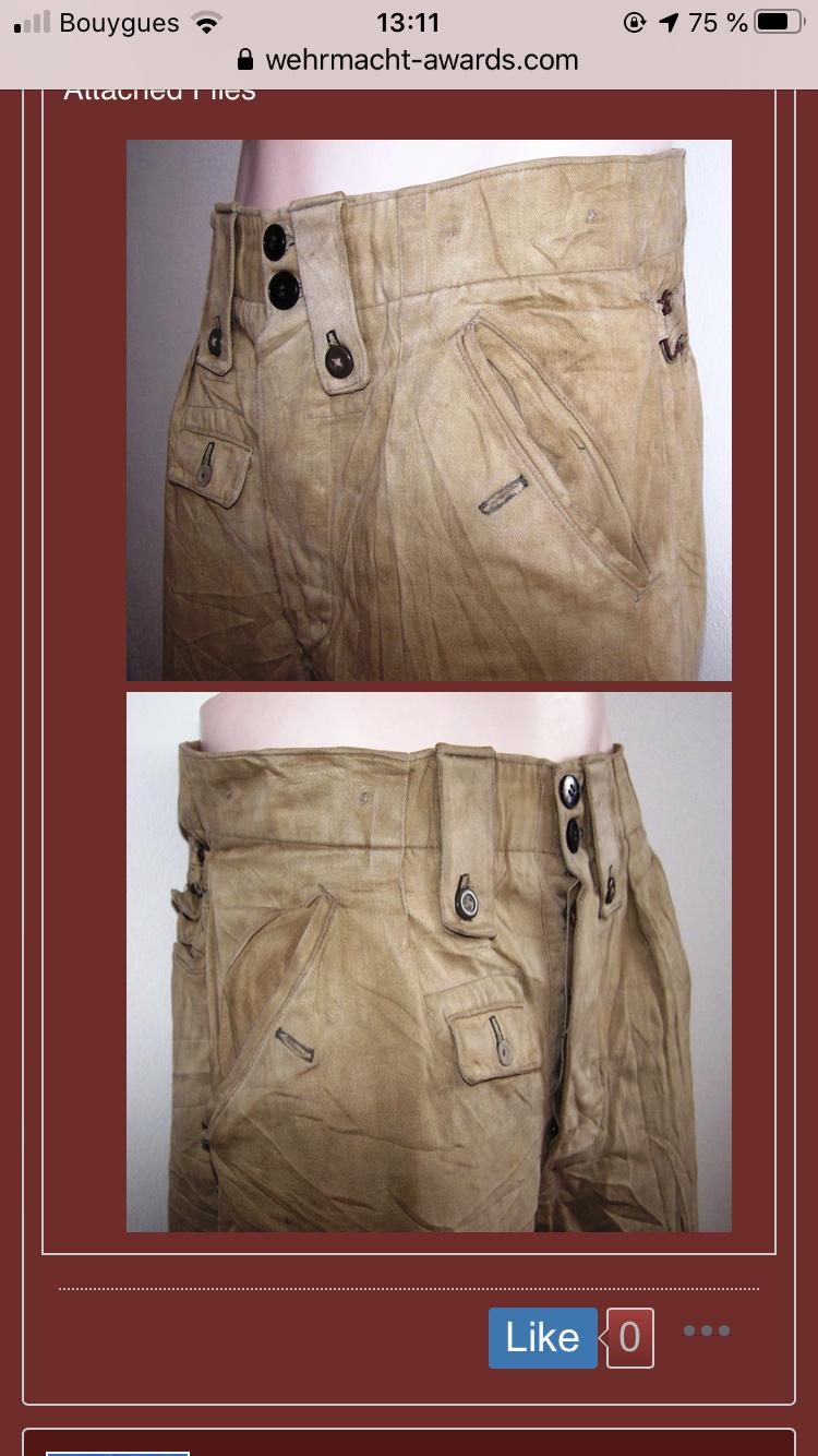 Pantalon droit AK troupe daté 1941 1e763010