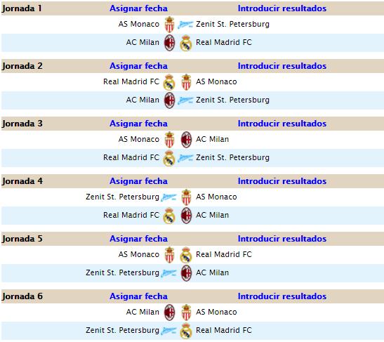 CALENDARIO CHAMPIONS LEAGUE A27