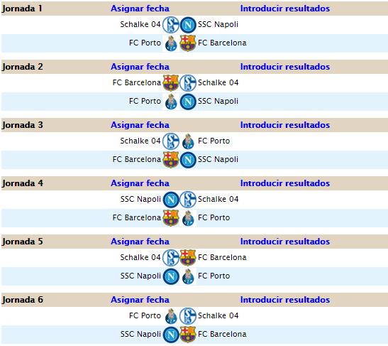 CALENDARIO CHAMPIONS LEAGUE C25