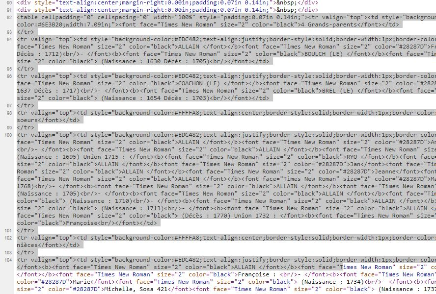 """Edition """"Parenté développée"""" d'un individu Code_s10"""