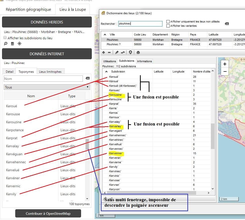 Astuce pour pointer rapidement nos subdivisions, et seulement celles connues par OSM (OpenStreetMap) Topony13