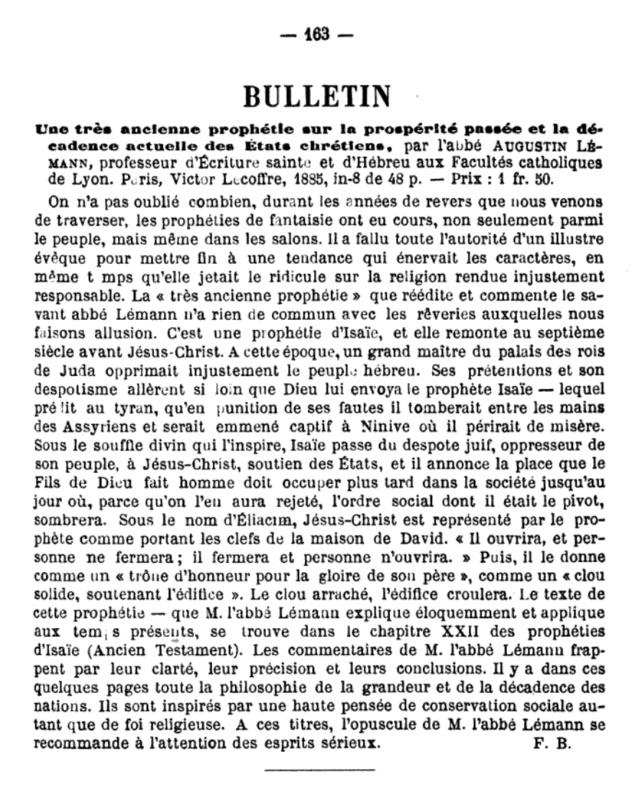 Une prophétie rapportée par l'abbé Augustin Lémann Conten10