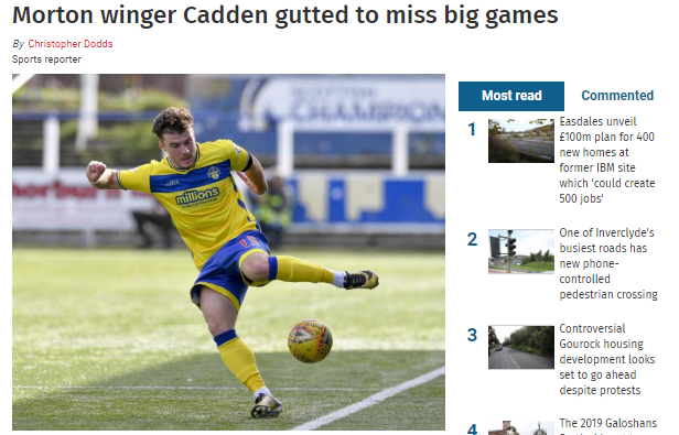 GREENOCK TELEGRAPH ON NICKY CADDEN/REECE LYON. Screen19