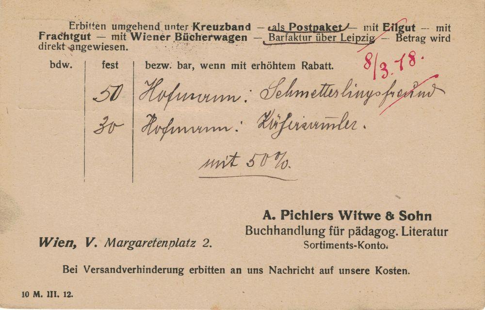 Privatganzsachen von A. Pichlers Witwe & Sohn Karte_17