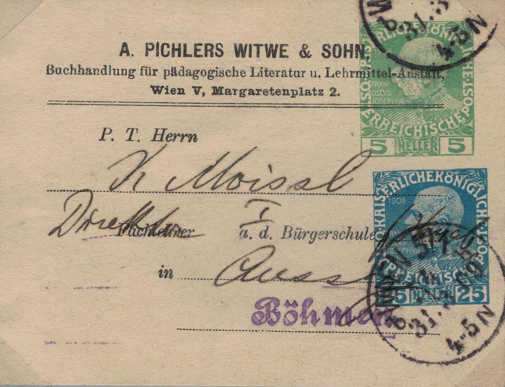 Privatganzsachen von A. Pichlers Witwe & Sohn Kfj_5_12
