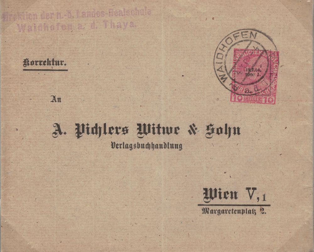 Privatganzsachen von A. Pichlers Witwe & Sohn Kuvert10