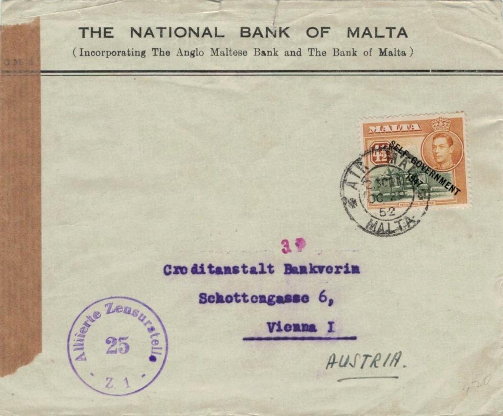 Post von seltenen Länder nach Österreich 1946 bis 1953 Malta10