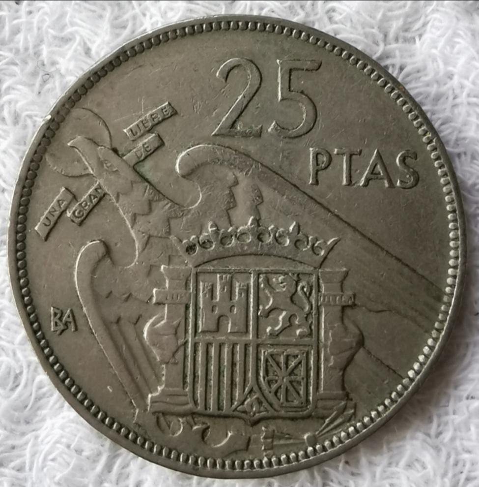 25 Pesetas 1957 Estado Español, serie BA Img_2073