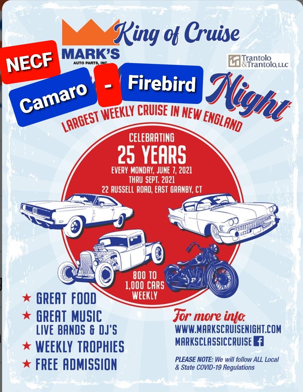 NECF Hosting Camaro-Firebird Night @ Mark's Mon, June 28, 2021 5pm Screen13