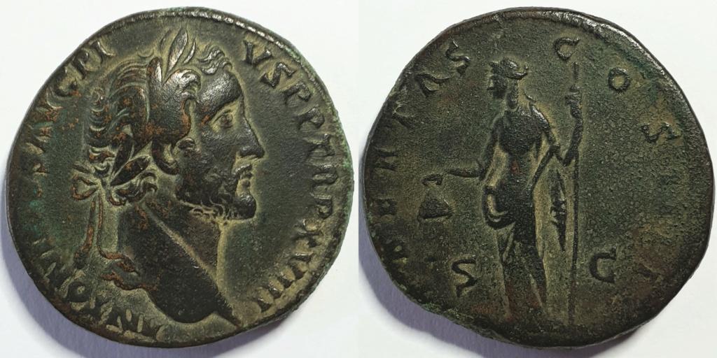 Sestercio de Antonino Pio - LIBERTAS COS IIII S.C Roma Antoni10