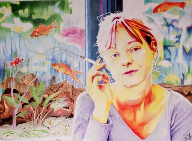 Autoportrait jaune à l'aquarium Autopo10