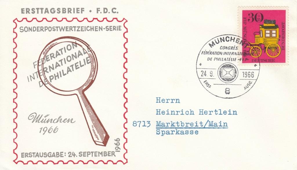 Kongress des FIP in München 1966 - Bayerische Postkutsche und Preußischer Briefträger 518110
