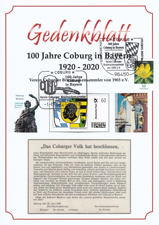 """""""Coburg 100 Jahre in Bayern"""" - Am 1.7.20 Sonderpostamt vor Ort  Cosost10"""