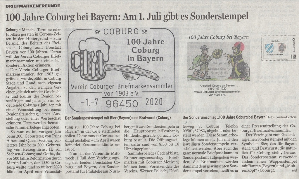 """""""Coburg 100 Jahre in Bayern"""" - Am 1.7.20 Sonderpostamt vor Ort  Ct15_610"""
