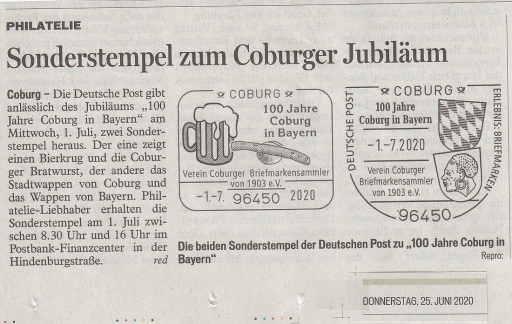 """""""Coburg 100 Jahre in Bayern"""" - Am 1.7.20 Sonderpostamt vor Ort  Ctsond10"""
