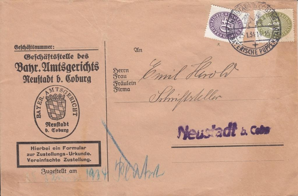 Die Postgeschichte von Neustadt bei Coburg Nec1910
