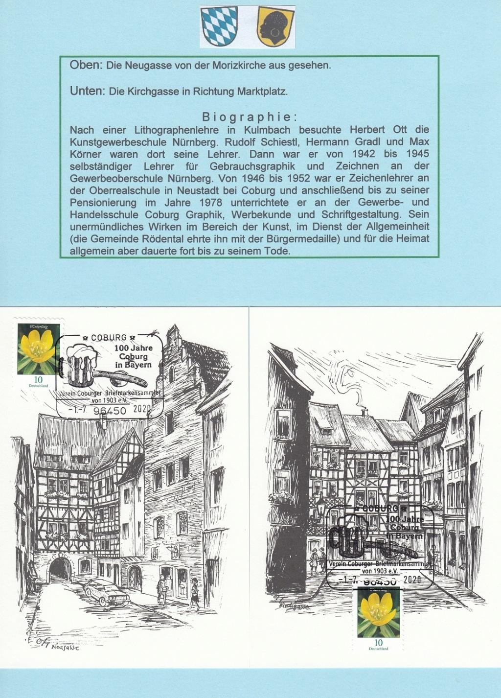 """""""Coburg 100 Jahre in Bayern"""" - Am 1.7.20 Sonderpostamt vor Ort  Ott310"""