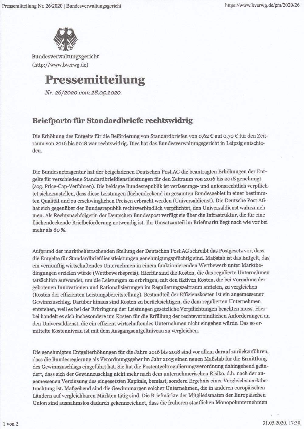 Bundesverwaltungsgericht: Portoberechnung war rechtswidrig Rw110