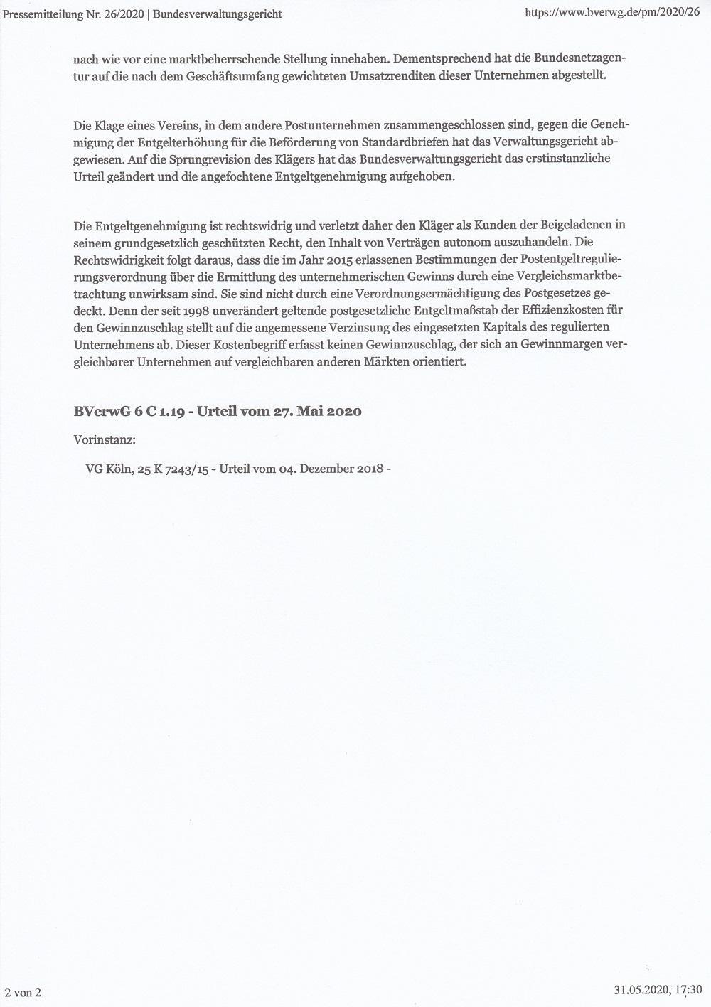 Bundesverwaltungsgericht: Portoberechnung war rechtswidrig Rw210
