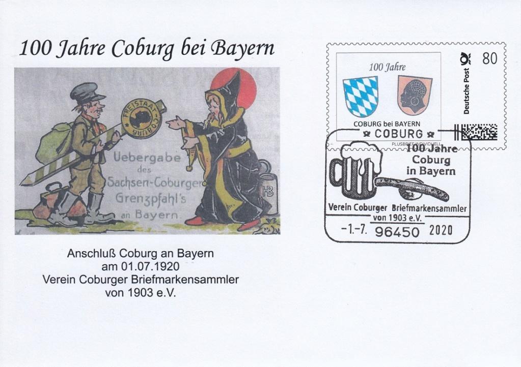 """""""Coburg 100 Jahre in Bayern"""" - Am 1.7.20 Sonderpostamt vor Ort  Sokuv110"""