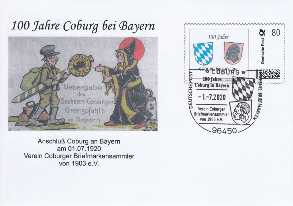 """""""Coburg 100 Jahre in Bayern"""" - Am 1.7.20 Sonderpostamt vor Ort  Sokuv210"""
