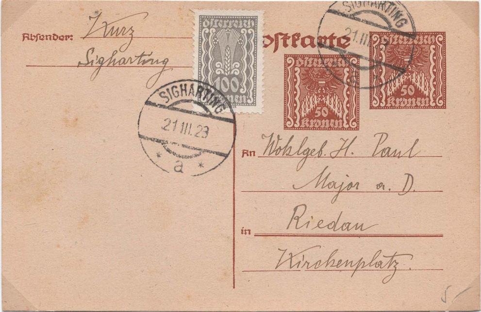 """Postkartenserie """"Quadratischer Wertstempel - Wertziffer im Dreieck"""" 1922-24 - Seite 5 P25610"""