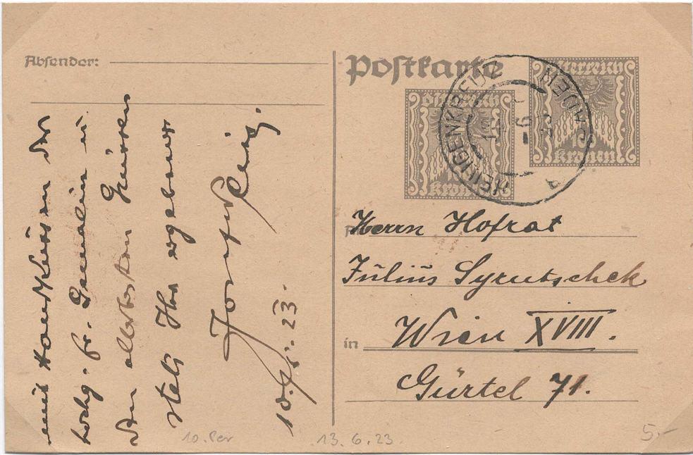 """Postkartenserie """"Quadratischer Wertstempel - Wertziffer im Dreieck"""" 1922-24 - Seite 5 P25810"""