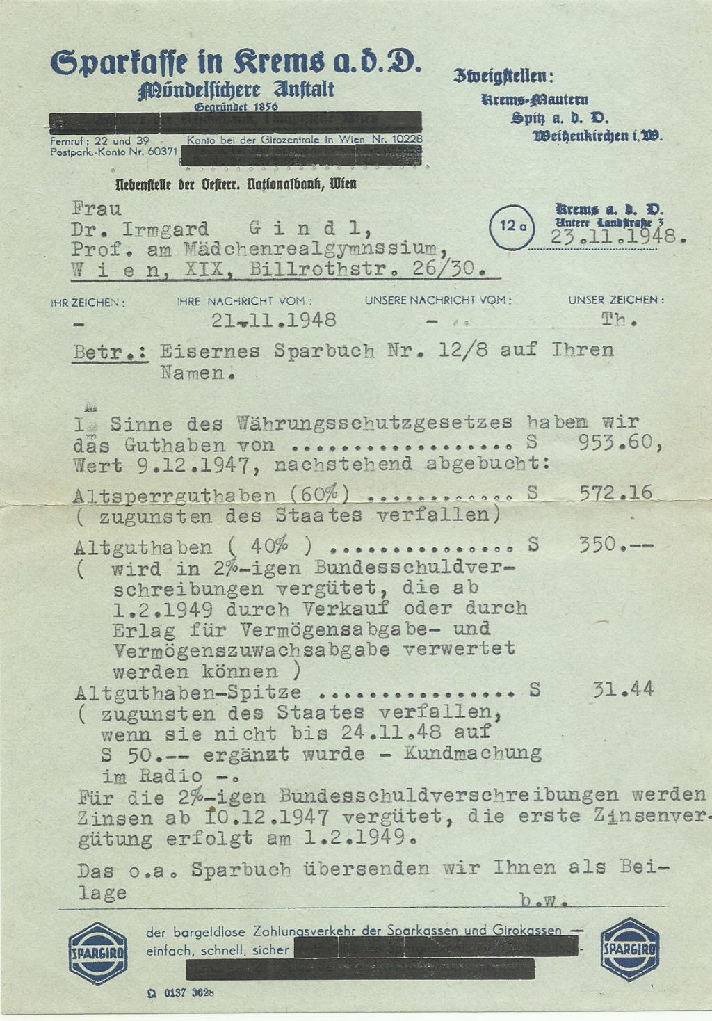 Österreich 2. Währungsreform 10.12.1947 - Belege Wzihru11