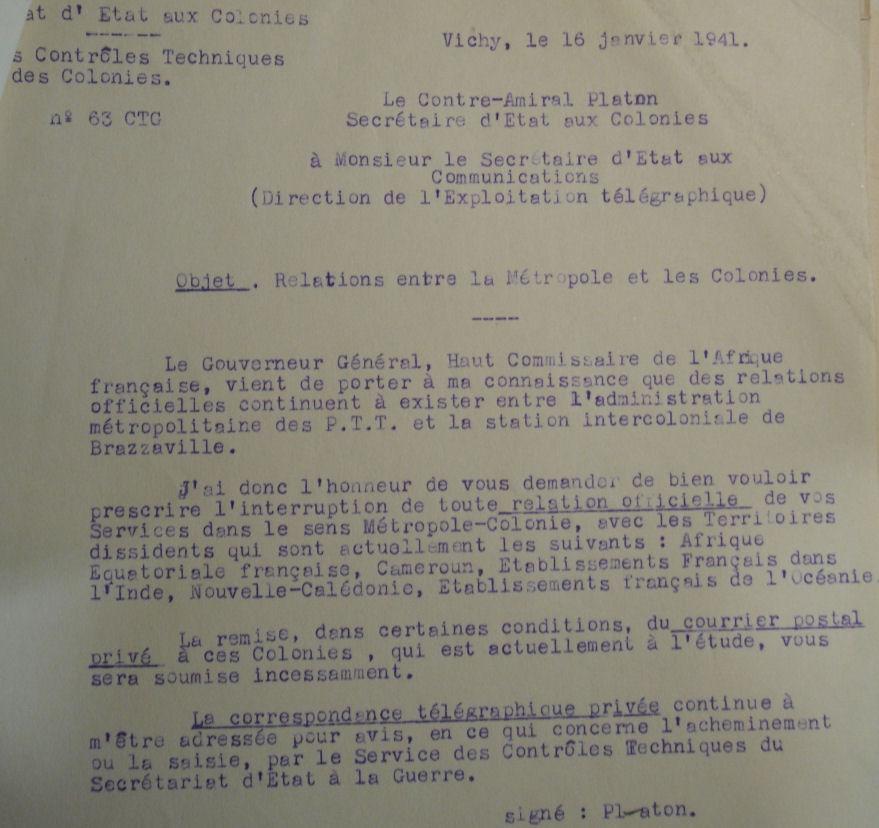 Saint Raphaël à Pointe Noire (Moyen Congo) le 22/04/1941 : problème de tarification  16_1_410
