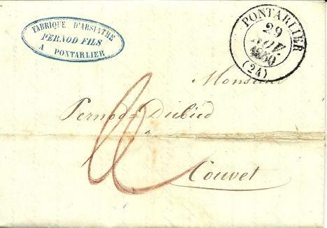 Tarif limitrophe Couvet-Pontarlier 1853 1850_t10