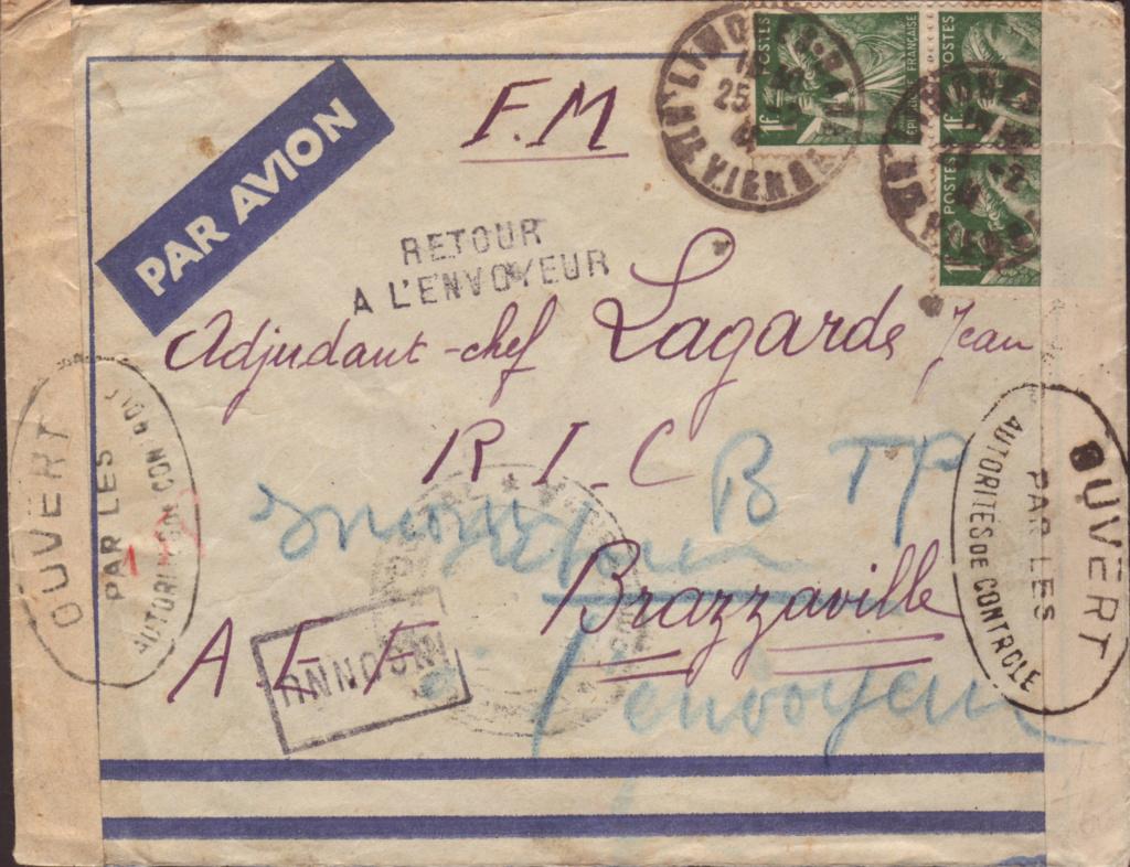 Saint Raphaël à Pointe Noire (Moyen Congo) le 22/04/1941 : problème de tarification  19000810