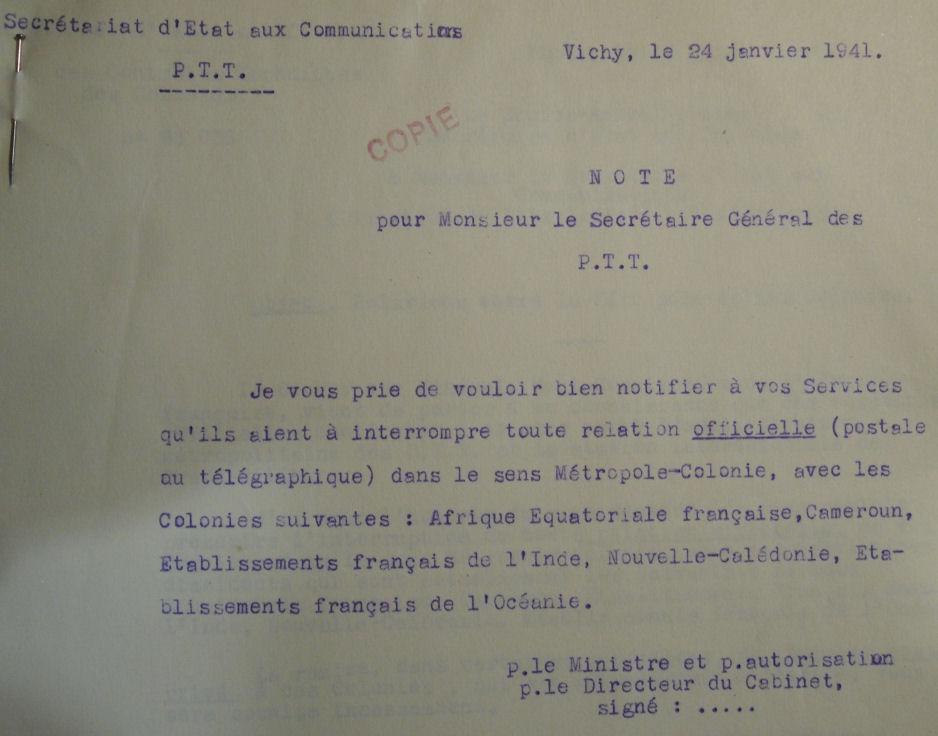 Saint Raphaël à Pointe Noire (Moyen Congo) le 22/04/1941 : problème de tarification  24_1_410