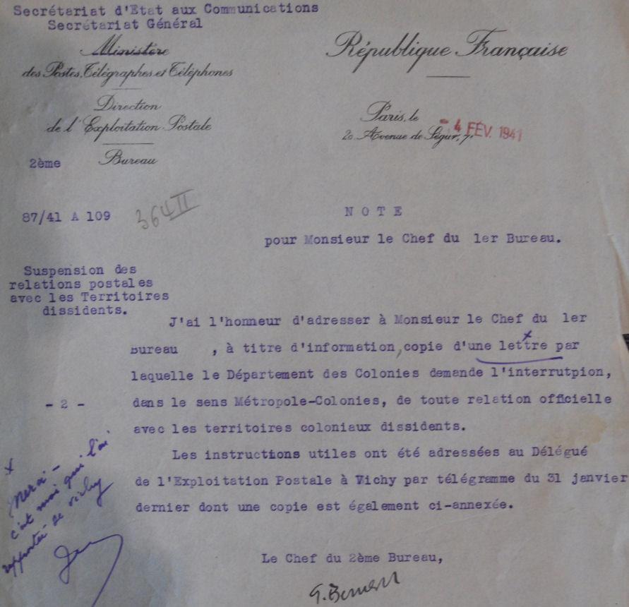 Saint Raphaël à Pointe Noire (Moyen Congo) le 22/04/1941 : problème de tarification  Au_4_210