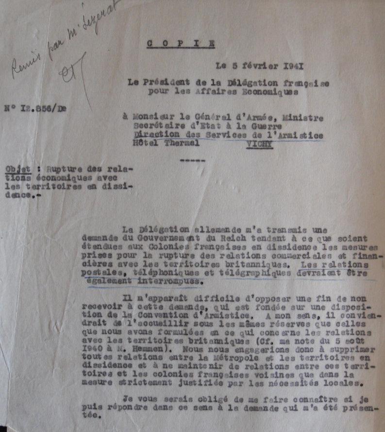 Saint Raphaël à Pointe Noire (Moyen Congo) le 22/04/1941 : problème de tarification  Au_5_210
